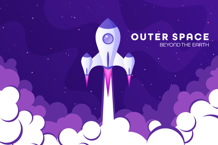Space futuristic modern colorful background with rocket. Starship, spaceship in night sky. Solar system, galaxy and universe exploration. Vector illustration. Standard-Bild - 120429685