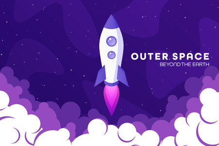 Space futuristic modern colorful background with rocket. Starship, spaceship in night sky. Solar system, galaxy and universe exploration. Vector illustration 写真素材 - 120429687