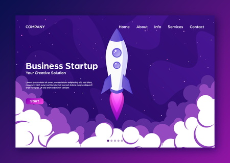 Website landing home page with rocket. Business project startup and development modern flat background. Mobile web design template. Space travel on a rocketship. Vector illustration Standard-Bild - 120429688