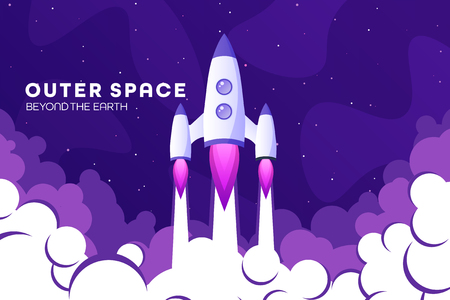 Space futuristic modern colorful background with rocket. Starship, spaceship in night sky. Solar system, galaxy and universe exploration. Vector illustration Standard-Bild - 120429689