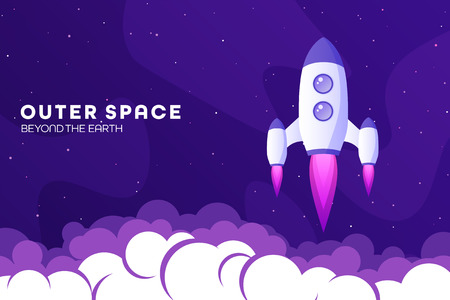 Space futuristic modern colorful background with rocket. Starship, spaceship in night sky. Solar system, galaxy and universe exploration. Vector illustration