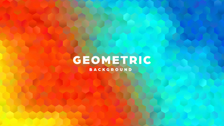 Hexagonal polygonal abstract background. Colorful triangle gradient design. Low poly hexagon shape banner. Vector illustration. Standard-Bild - 121501984