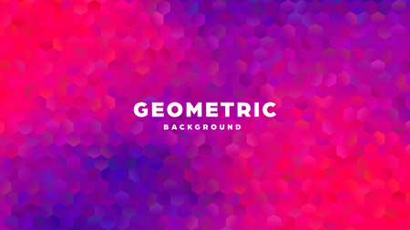 Hexagonal polygonal abstract background. Colorful triangle gradient design. Low poly hexagon shape banner. Vector illustration. Standard-Bild - 121501985