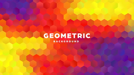 Hexagonal polygonal abstract background. Colorful triangle gradient design. Low poly hexagon shape banner. Vector illustration. Standard-Bild - 121501992