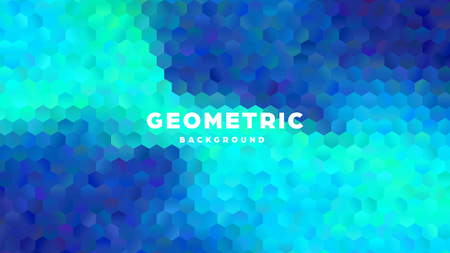 Hexagonal polygonal abstract background. Colorful triangle gradient design. Low poly hexagon shape banner. Vector illustration. Standard-Bild - 121502051
