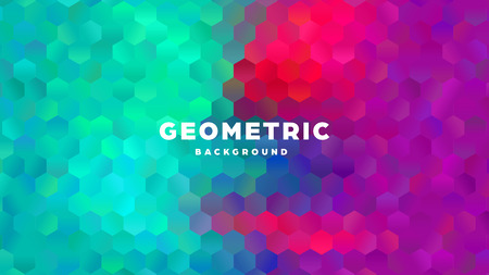 Hexagonal polygonal abstract background. Colorful triangle gradient design. Low poly hexagon shape banner. Vector illustration. Standard-Bild - 121502055