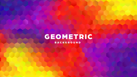 Hexagonal polygonal abstract background. Colorful triangle gradient design. Low poly hexagon shape banner. Vector illustration. Standard-Bild - 121502056