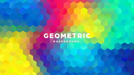 Hexagonal polygonal abstract background. Colorful triangle gradient design. Low poly hexagon shape banner. Vector illustration. Standard-Bild - 121502057