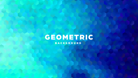 Hexagonal polygonal abstract background. Colorful triangle gradient design. Low poly hexagon shape banner. Vector illustration. Standard-Bild - 121502109