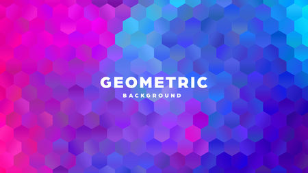 Hexagonal polygonal abstract background. Colorful triangle gradient design. Low poly hexagon shape banner. Vector illustration. Standard-Bild - 121502059