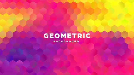 Hexagonal polygonal abstract background. Colorful triangle gradient design. Low poly hexagon shape banner. Vector illustration. Standard-Bild - 121502060