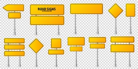 Ensemble de panneaux de signalisation jaune de route. Tableau blanc avec place pour le texte. Maquette. Signe d'information isolé. Direction. Illustration vectorielle