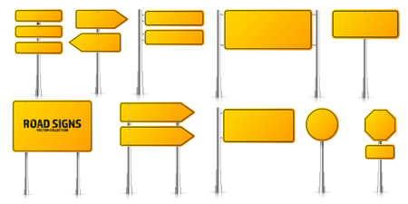 Road yellow traffic signs set. Blank board with place for text. Mockup. Isolated information sign. Direction. Vector illustration