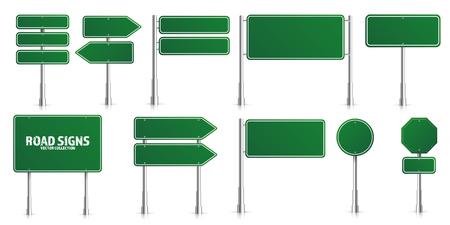 Zestaw znaków drogowych zielony ruch. Pusta tablica z miejscem na tekst. Makieta. Znak informacyjny na białym tle. Kierunek. Ilustracja wektorowa