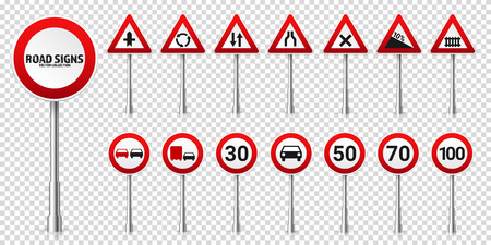 Road highway regulatory signs set. Traffic control and lane usage. Stop and yield. Vector illustration