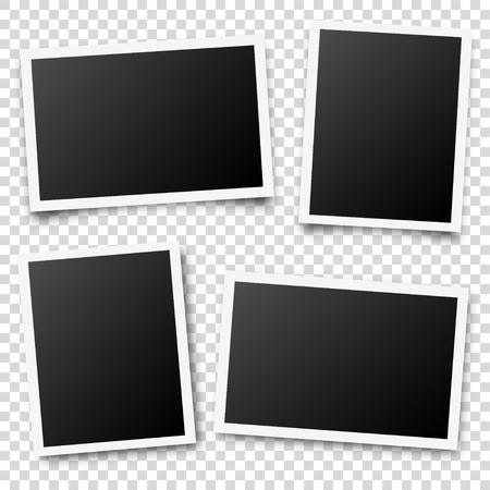 Photo card frame,film set. Retro vintage photograph with shadow. Digital snapshot image. Photography art. Template or mockup for design. Vector illustration Illustration