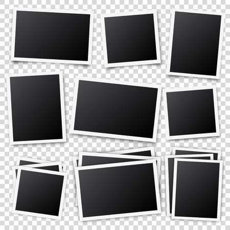 Photo card frame,film set. Retro vintage photograph with shadow. Digital snapshot image. Photography art. Template or mockup for design. Vector illustration Illustration