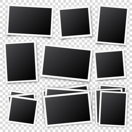 Photo card frame,film set. Retro vintage photograph with shadow. Digital snapshot image. Photography art. Template or mockup for design. Vector illustration  イラスト・ベクター素材