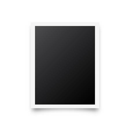 Cadre de carte photo, film. Photographie vintage rétro avec ombre. Image instantanée numérique. Art de la photographie. Modèle ou maquette pour la conception. Illustration vectorielle