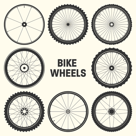 Bicycle wheel symbol vector illustration. Bike rubber mountain tyre, valve. Fitness cycle, mtb, mountainbike