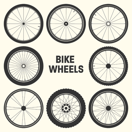 Bicycle wheel symbol vector illustration. Bike rubber mountain tyre, valve. Fitness cycle, mtb, mountainbike Vetores