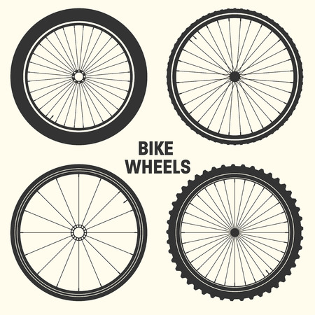 Illustration vectorielle de vélo roue symbole. Pneu de vélo de montagne en caoutchouc, valve. Vélo fitness, vtt, VTT