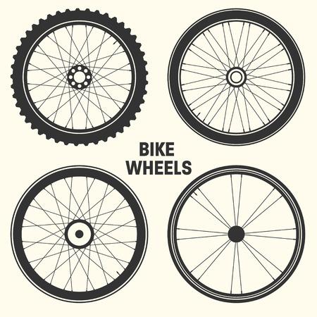 Illustration vectorielle de vélo roue symbole. Pneu de vélo de montagne en caoutchouc, valve. Vélo fitness, vtt, VTT Vecteurs