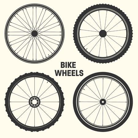 Fiets wiel symbool vectorillustratie. Fietsrubber bergband, ventiel. Fitnessfiets, mtb, mountainbike