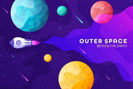 Space futuristic modern colorful background with rocket. Starship, spaceship in night sky. Solar system, galaxy and universe exploration. Vector illustration. 写真素材 - 123738768