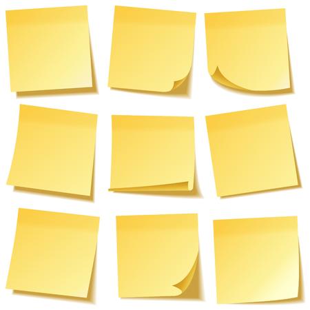 Nota adesiva realistica con ombra. Insieme di carta gialla. Messaggio su carta da lettere. Promemoria. Illustrazione vettoriale.
