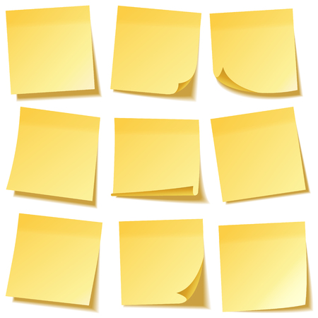 Nota adhesiva realista con sombra. Juego de papel amarillo. Mensaje en papel de carta. Recordatorio. Ilustración vectorial.