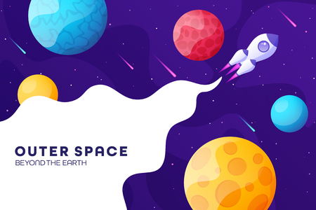 Space futuristic modern colorful background with rocket. Starship, spaceship in night sky. Solar system, galaxy and universe exploration. Vector illustration. 写真素材 - 123738770