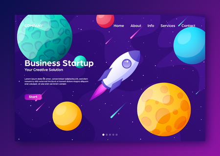 Space futuristic modern colorful background with rocket. Starship, spaceship in night sky. Solar system, galaxy and universe exploration. Vector illustration. 写真素材 - 123738771
