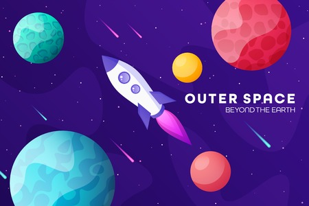 Space futuristic modern colorful background with rocket. Starship, spaceship in night sky. Solar system, galaxy and universe exploration. Vector illustration. 写真素材 - 123738774