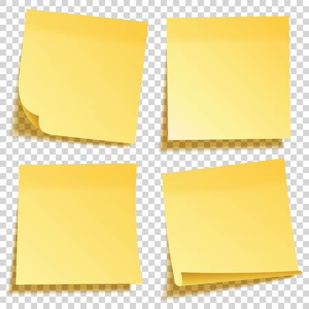 Realistic sticky note with shadow. Yellow paper set. Message on notepaper. Reminder. Vector illustration.