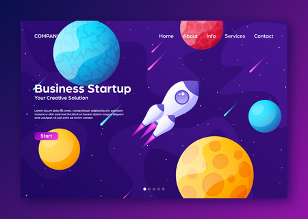 Space futuristic modern colorful background with rocket. Starship, spaceship in night sky. Solar system, galaxy and universe exploration. Vector illustration. Illustration