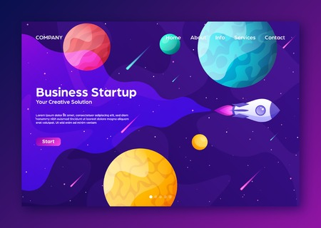 Space futuristic modern colorful background with rocket. Starship, spaceship in night sky. Solar system, galaxy and universe exploration. Vector illustration. 写真素材 - 123738786