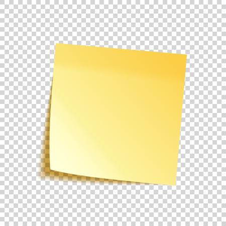 Pense-bête réaliste avec ombre. Papier jaune. Message sur papier à lettres. Rappel. Illustration vectorielle