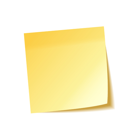 Realistic sticky note with shadow. Yellow paper. Message on notepaper. Reminder. Vector illustration