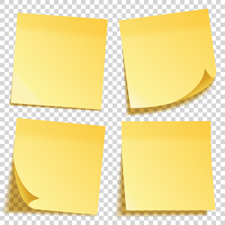 Realistic sticky note with shadow. Yellow paper set. Message on notepaper. Reminder. Vector illustration. Vektorové ilustrace