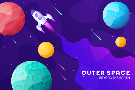 Space futuristic modern colorful background with rocket. Starship, spaceship in night sky. Solar system, galaxy and universe exploration. Vector illustration.  イラスト・ベクター素材