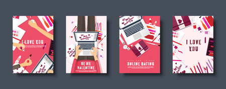 Flat covers set. Love and hearts. Valentines day. Be my valentine. 14 February. Vector illustration. Holiday card