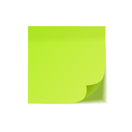 Realistic sticky note with shadow. Green paper. Message on notepaper. Reminder. Vector illustration