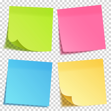 Realistic sticky note with shadow. Yellow paper set. Message on notepaper. Reminder. Vector illustration. Vector Illustratie