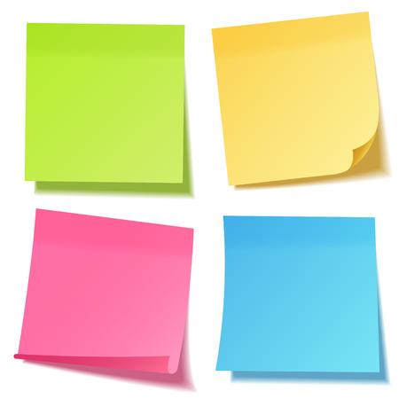 Realistische kleverige nota met schaduw. Geel papier set. Bericht op briefpapier. Herinnering. Vector illustratie. Vector Illustratie