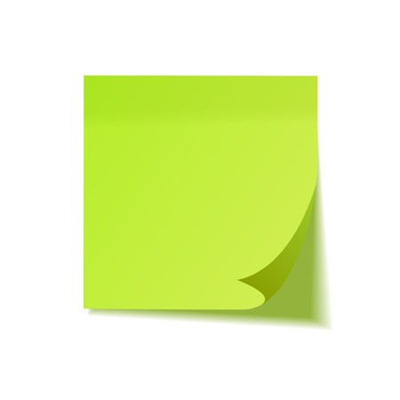 Realistic sticky note with shadow. Green paper. Message on notepaper. Reminder. Vector illustration Illustration