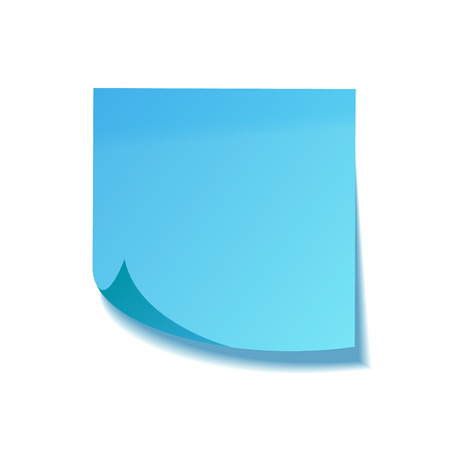 Realistic sticky note with shadow. Blue paper. Message on notepaper. Reminder. Vector illustration