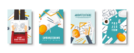 Engineering and architecture flat style covers set. Drawing construction. Architectural project. Design and sketching. Workspace with tools. Planning, building. Vector illustration