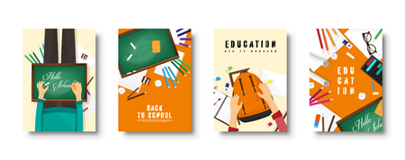 Back to school flat covers set. Online education and study. Teacher, student.
