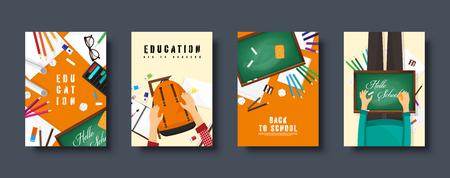 Set di copertine piatte per il ritorno a scuola. Formazione e studio online. Insegnante, studente.